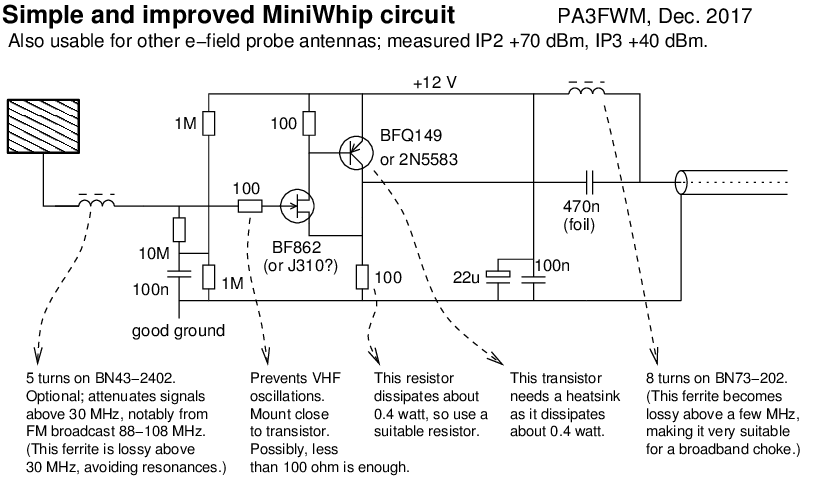 Simple and better circuit for MiniWhip antennas, as used in
